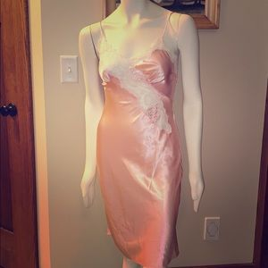 Vintage pink satin and lace slip dress. Size XS